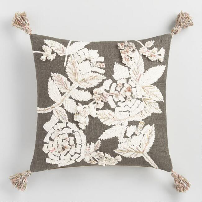 Dark Stone and Ivory Floral Embroidered Throw Pillow