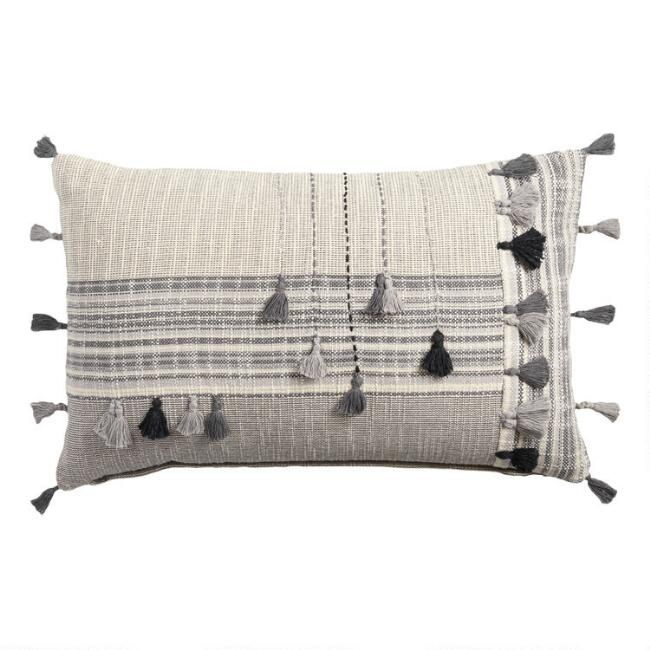 Gray Striped Embroidered Tassel Lumbar Pillow
