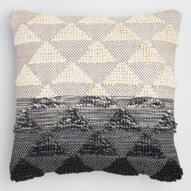 Black Woven Triangle Indoor Outdoor Throw Pillow