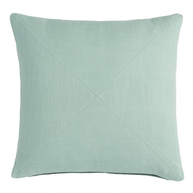 Jadeite Herringbone Cotton Throw Pillow