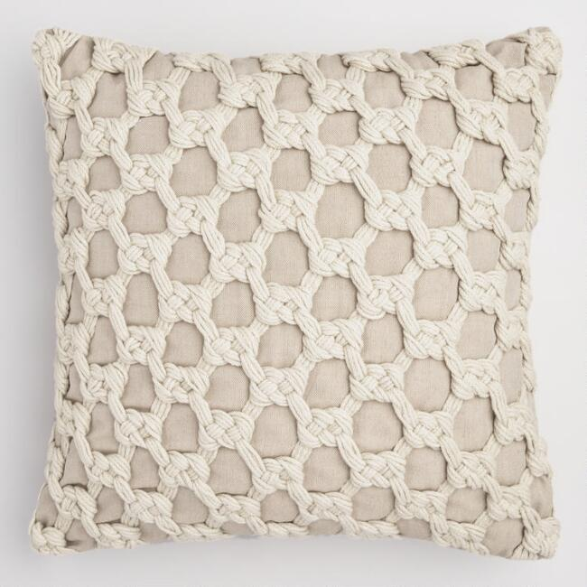 Ivory Knotted Macrame Indoor Outdoor Throw Pillow