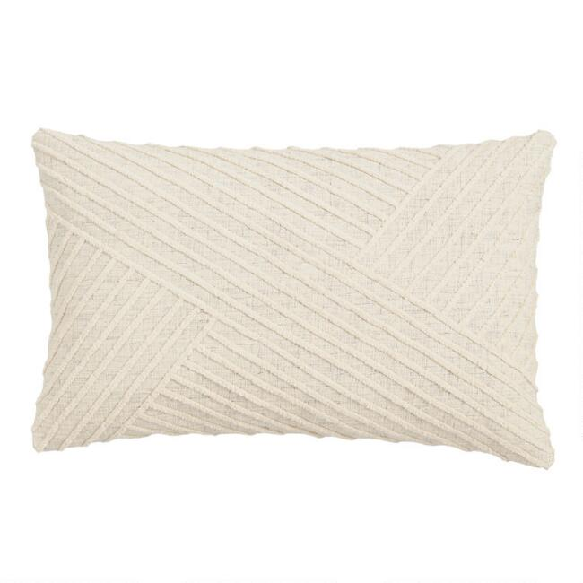 Oversized Ivory Angled Stripe Lumbar Pillow