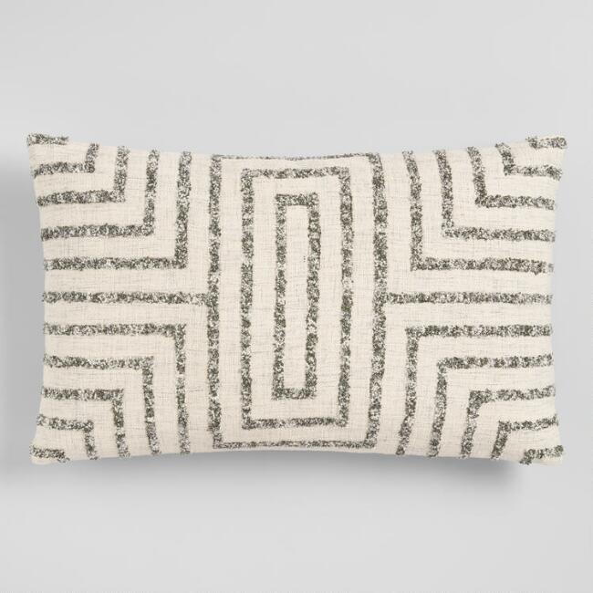 Oversized Gray Maze Square Lumbar Pillow