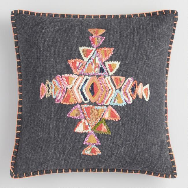 Multicolored Embroidered Stella Throw Pillow