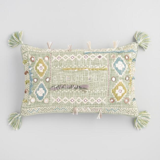 Oversized Sage Green Embroidered Mirror Haven Lumbar Pillow