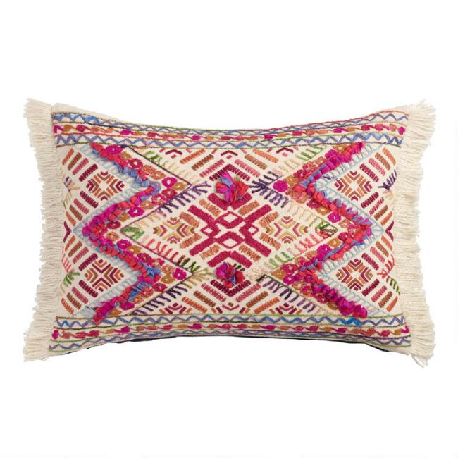 Multicolored Zigzag Fringe Lumbar Pillow