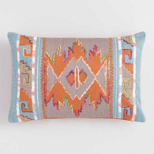 Warm Desert Embroidered Lumbar Pillow