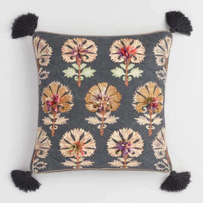 Multicolored Floral Bhuti Embroidered Throw Pillow