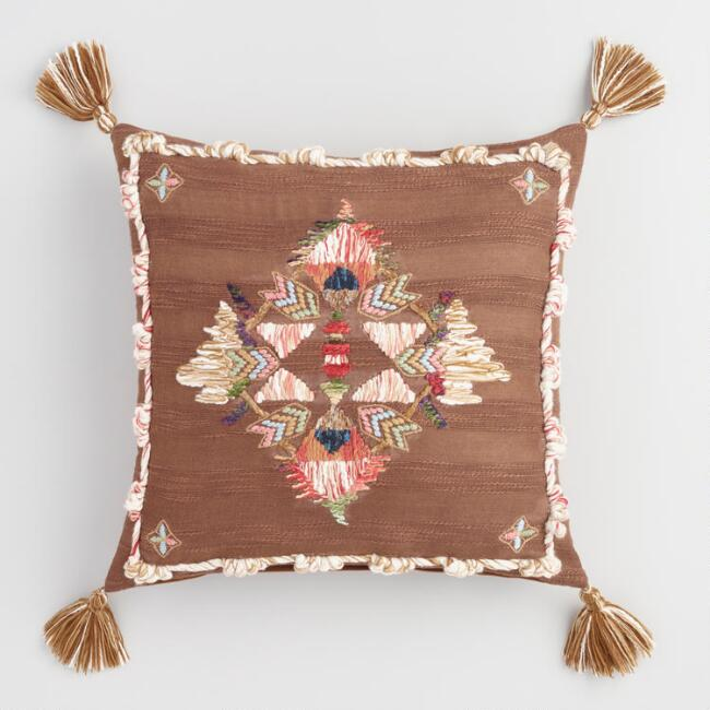 Multicolored Embroidered Starla Throw Pillow