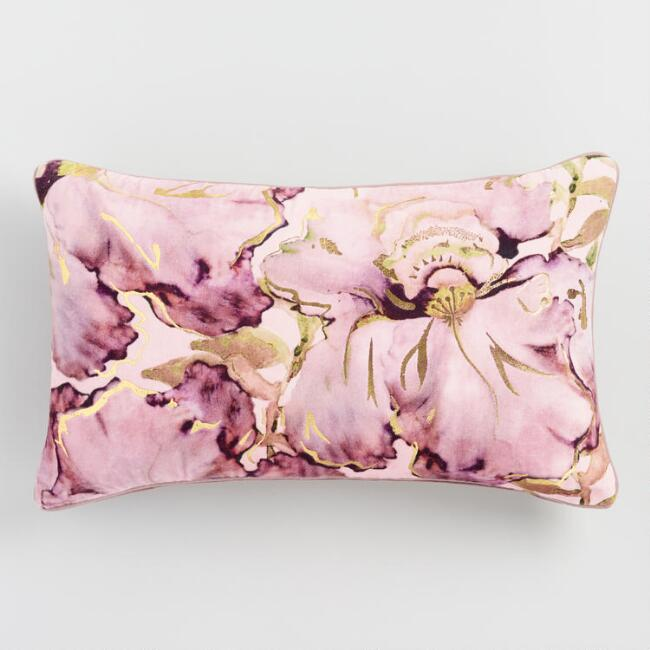 Oversized Lavender And Gold Watercolor Velvet Lumbar Pillow