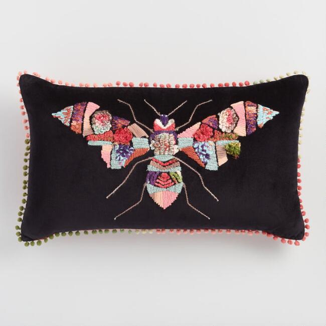 Oversized Multicolored Bug Embroidered Velvet Throw Pillow