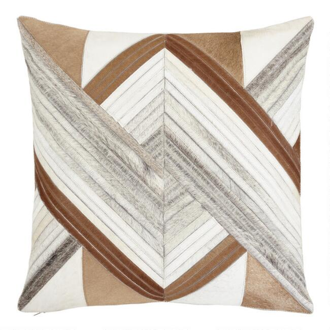 Whirling Patchwork Leather Hide Throw Pillow