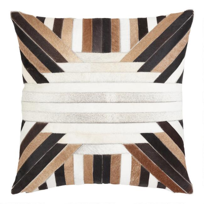 Moonbeam Patchwork Leather Hide Throw Pillow
