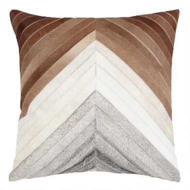 Chevron Patchwork Leather Hide Throw Pillow