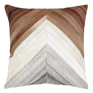 8f624184646 Chevron Patchwork Leather Hide Throw Pillow