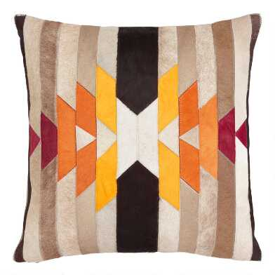 Solar Patchwork Leather Hide Throw Pillow