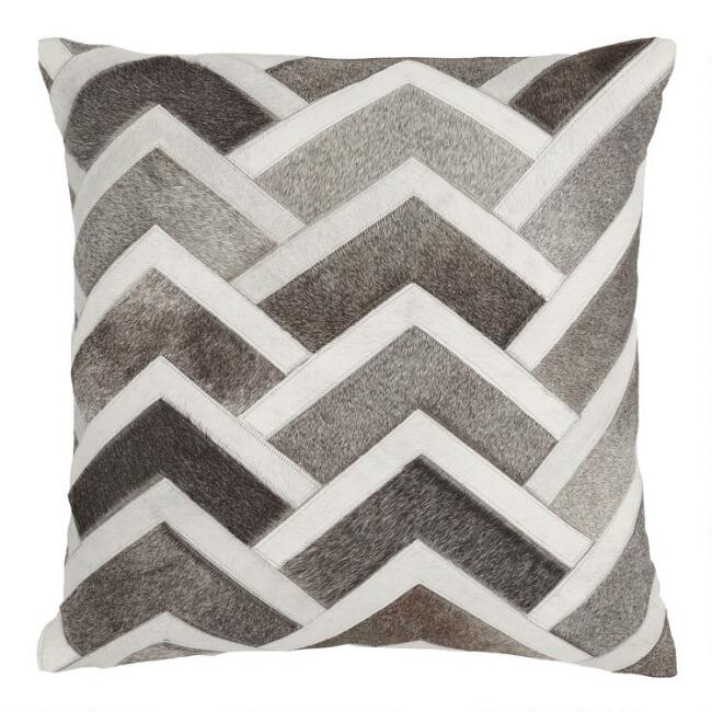 Alpine Patchwork Leather Hide Throw Pillow