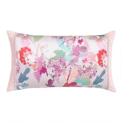 Printed Silk Jasmine Lumbar Pillow