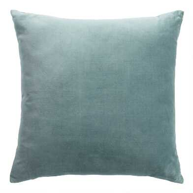 Slate Green Velvet Throw Pillow