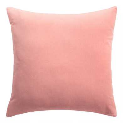 Salmon Pink Velvet Throw Pillow