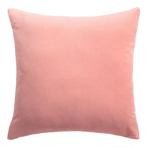 Salmon Pink Velvet Throw Pillow World