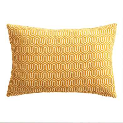 Golden Yellow Geo Chenille Lumbar Pillow