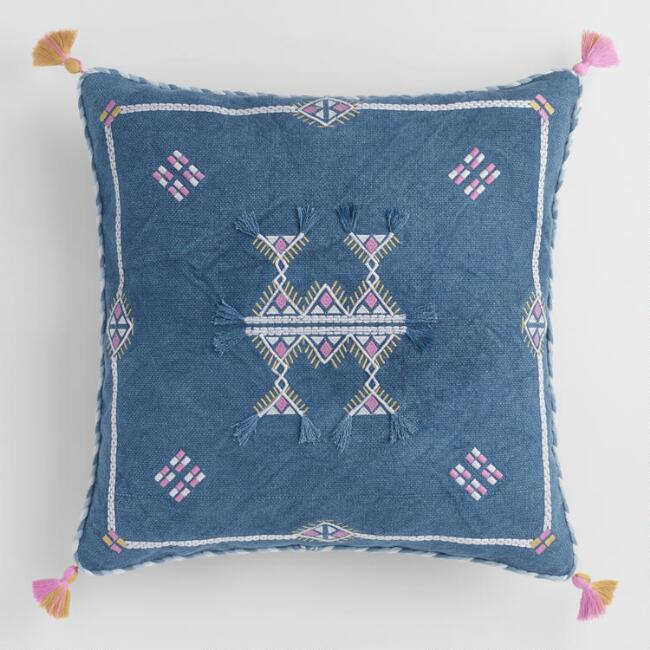 Blue Stonewashed Embroidered Throw Pillow