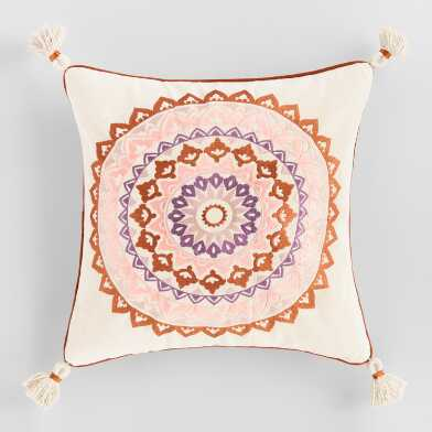 Oatmeal Embroidered Medallion Sol Throw Pillow