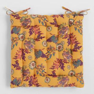 check out 7627c 21ec2 Mustard Yellow Floral Print Claire Chair Cushion