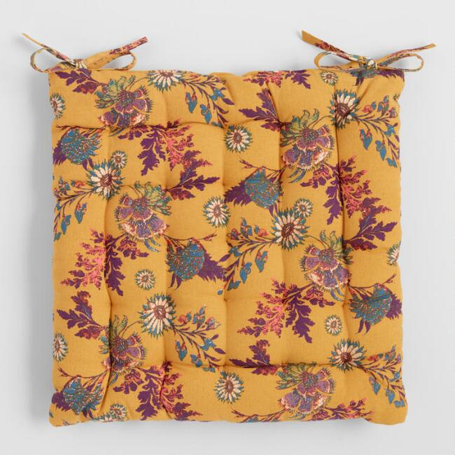 Mustard Yellow Floral Print Claire Chair Cushion