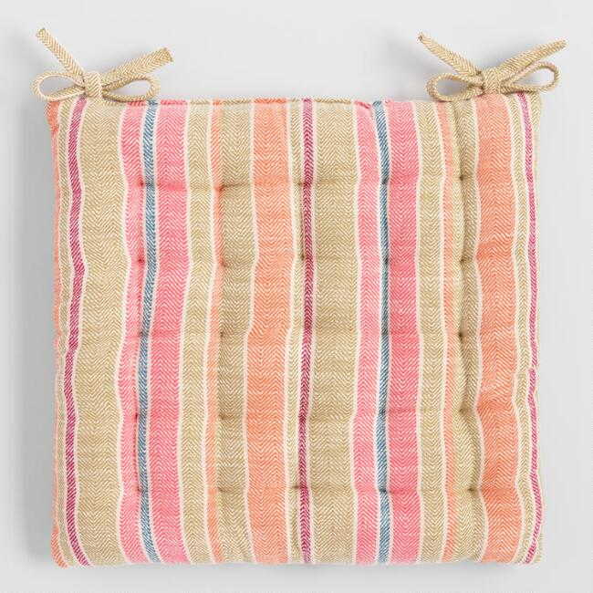 Warm Multicolored Stripe Chair Cushion