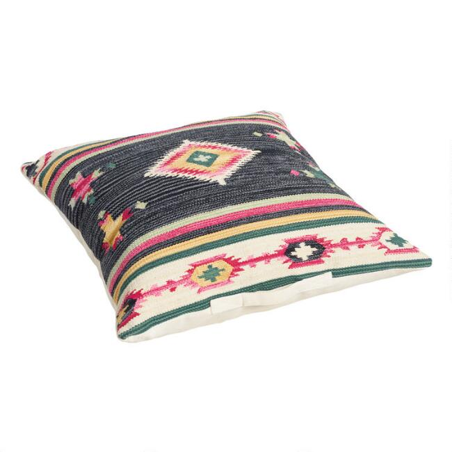 Black Gabbeh Kilim Floor Cushion