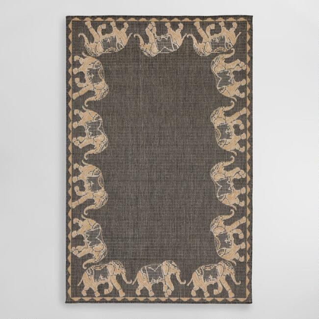 Gray Marching Elephants Indoor Outdoor Area Rug