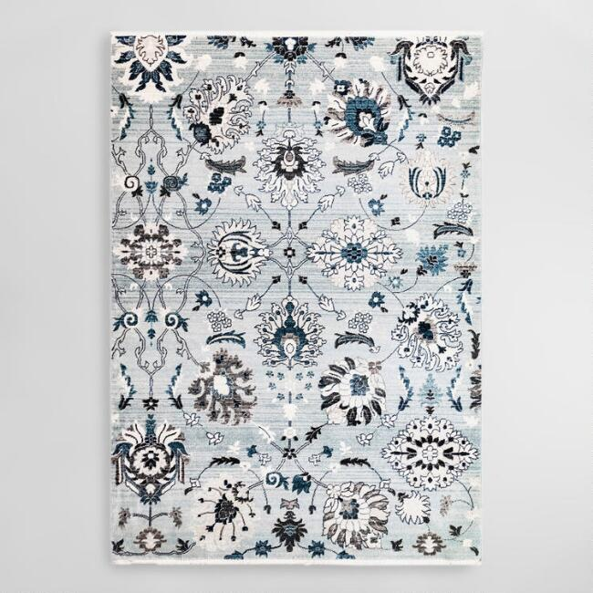 Blue and Gray Vintage Floral Area Rug