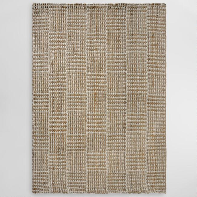 Natural Basket Weave Blocks Jute Area Rug