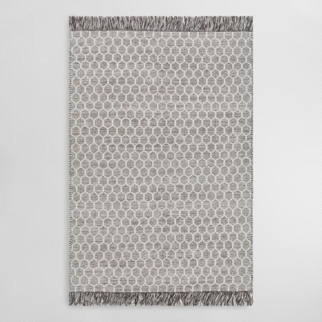 Gray and Ivory Honeycomb Ida Area Rug with Tassels