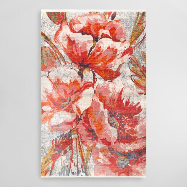 Red Floral Natalia Area Rug