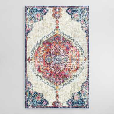 Ivory and Red Medallion Maria Area Rug