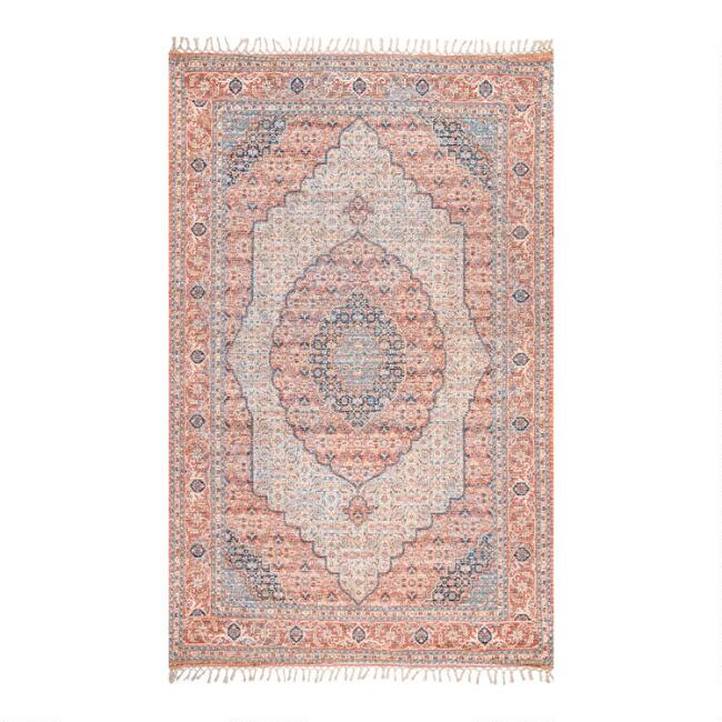 Coral and Blue Clarena Area Rug
