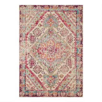 Aqua and Pink Geometric Medallion Nadine Area Rug
