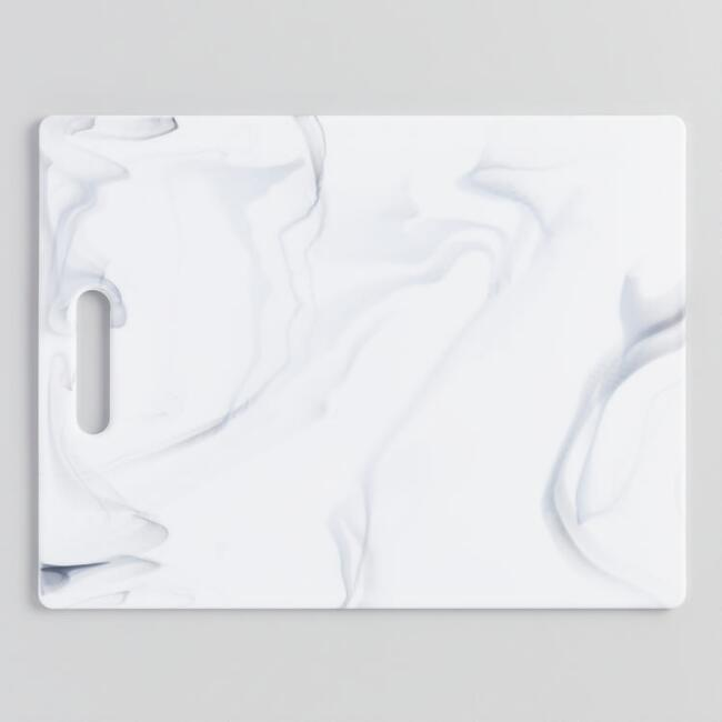 Large White Marbled Poly Cutting Board