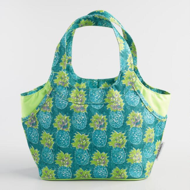 Teal Pineapple Jane Insulated Lunch Bag
