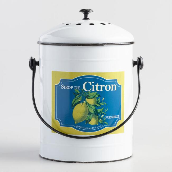 French Lemon Metal Compost Bucket with Filter