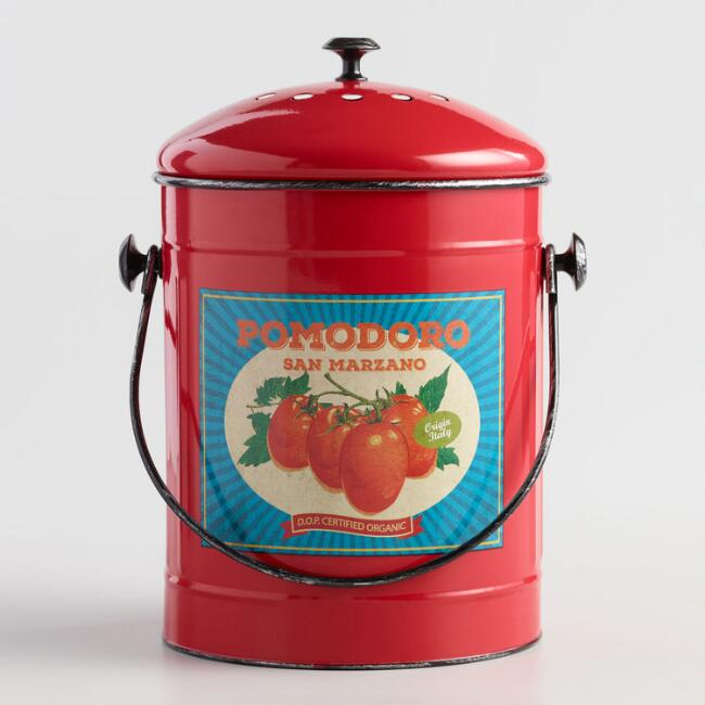 French Tomato Metal Compost Bucket With Filter