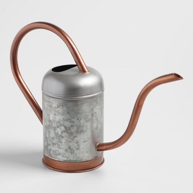 Brushed Bronze Galvanized Steel Watering Can