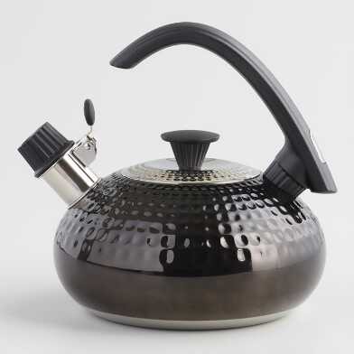 Black Hammered Stainless Steel Tea Kettle