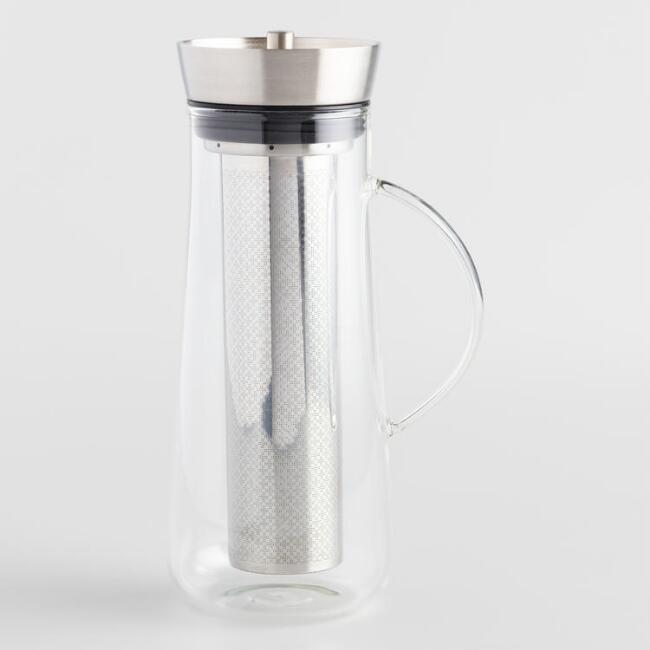 Glass and Steel Cold Brew Coffee Infuser Carafe