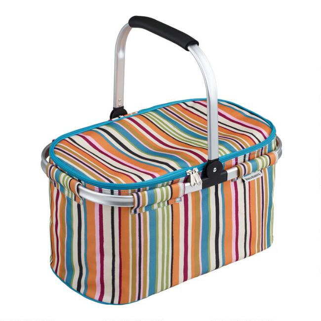 Multicolor Stripe Collapsible Insulated Tote Bag