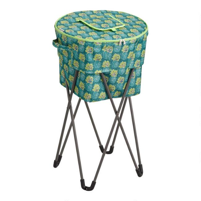 Teal Paloma Pineapple Insulated Cooler Tub with Stand