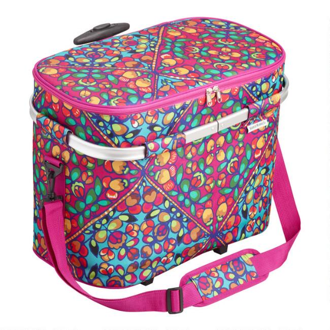 Hot Pink Multicolor Floral Lily Insulated Rolling Tote Bag